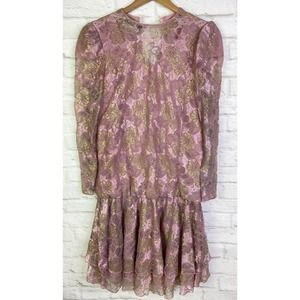 VTG Judy Hornsby Lace Tiered Dress Puff Shoulder 6